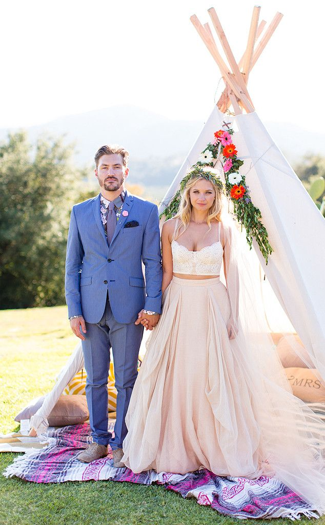 love her two piece wedding dress so much. not so much his BLUE tux but everything else is perfect. I love outside weddings.