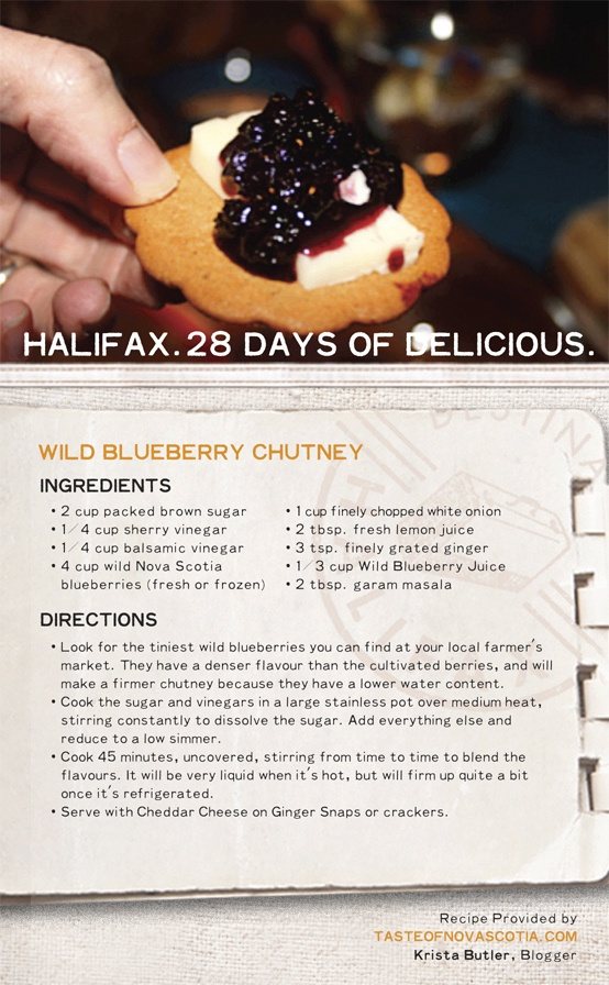 "Look for the tiniest #blueberries you can find for this #NovaScotia #recipe - they'll make a firmer ""Wild Blueberry #Chutney"" because of lower water content. Add #balsamic #vinegar, #ginger, brown sugar, and a few additional ingredients for a delicious #Maritime condiment. #28daysofdelicious"