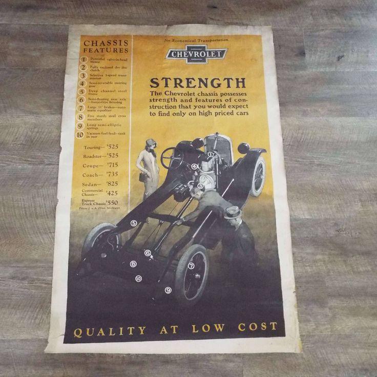 Rare Vintage 1920's Chevrolet Dealership Advertising Poster  GM Chevy Automobilia Transportation by VintageBlackCatz on Etsy