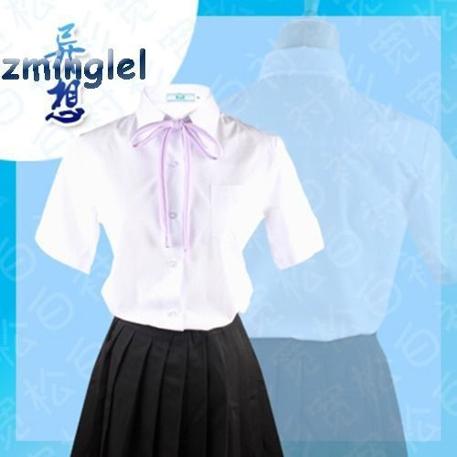Japanese School Uniform Style Girls French Toast Blouse Sharp Collar Uniform Shirt Tops with Chest Pocket Short Sleeves