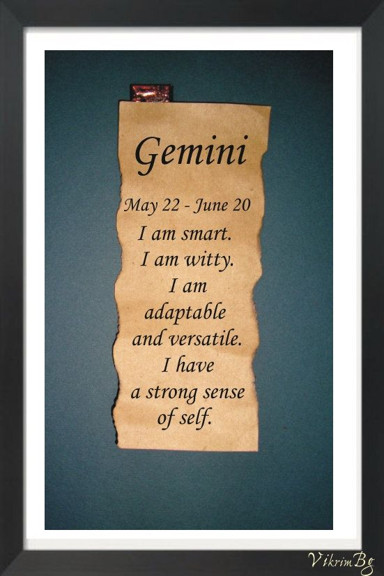 GEMINI ZODIAC Parchment Astrological quote saying.