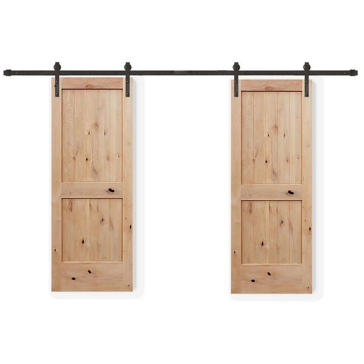 Pacific Entries 60 In X 80 In Bi Parting 2 Panel V Groove Solid Core Knotty Alder Sliding Barn Door With Bronze Hardware Kit Bpua2242 6080 10b In 2020 Barn Style Sliding Doors Interior Barn Doors Pine