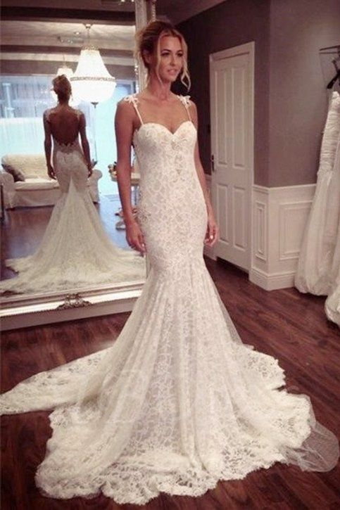 Mermaid lace wedding dress, bridal gown