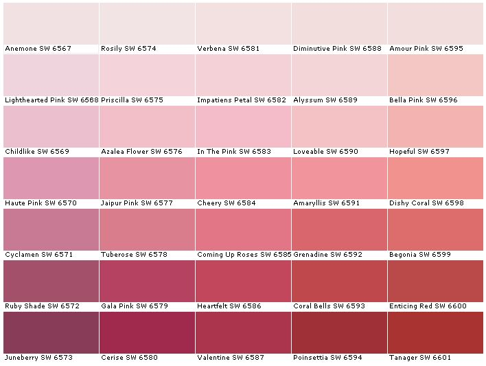 Sherwin Williams Sw6567 Anemone Sw6568 Lighthearted Pink Sw6569 Childlike Sw6570 Haute Pink Sw6571 Cyclamen Sw6572 Ruby Pink Paint Colorshouse