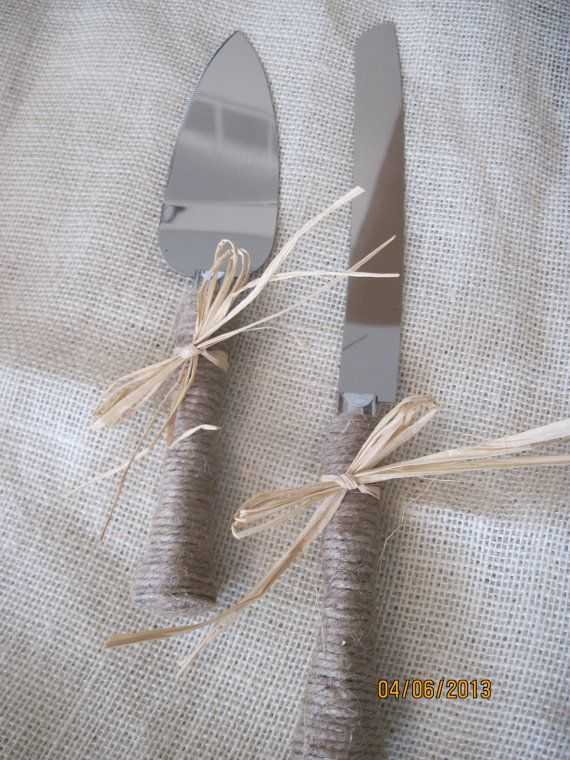 Wedding Twine Jute Cake Serving Set Knife Shabby Chic Rustic Country on Etsy, $26.00