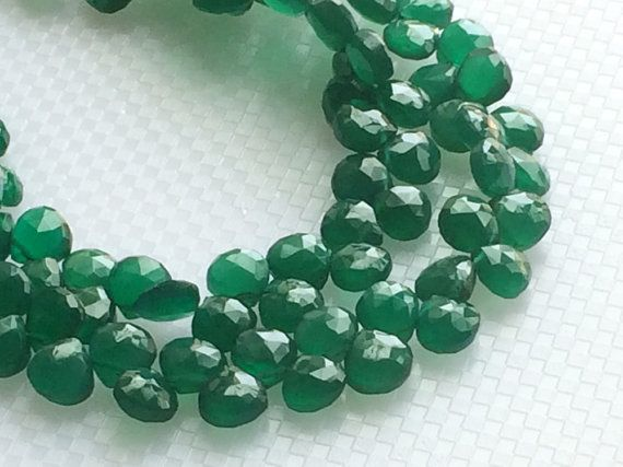 Green Onyx Faceted Heart Beads Green Onyx Heart by gemsforjewels