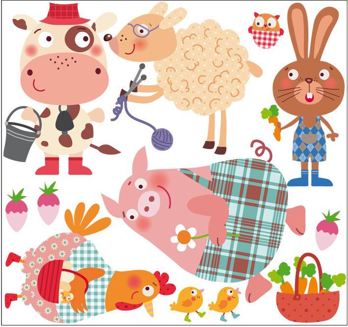 Vinilo infantil decorativo de tela | La granja