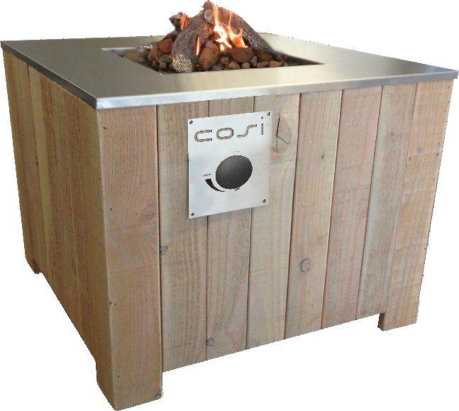 Vuurtafel van Cosi 70x70 cm, volledig op gas, ook te gebrukken als tafel voor buiten..