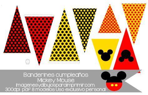 Banderines de mickey mouse, ocho modelos diferentes para combinar y personalizar su fiesta de cumpleaños de mickey mouse, con letras para personalizar. #mickeymouse #birthdayparty #disney