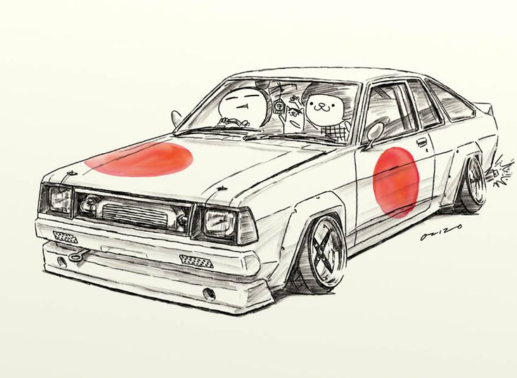 "car illustration""crazy car art""jdm  japanese old school ""B310""original cartoon ""mame mame rock""   /   © ozizo"