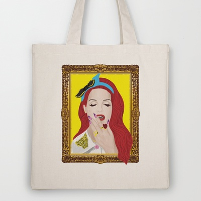 Lana Del Ray Tote Bag by Eltina Giannopoulou - $18.00