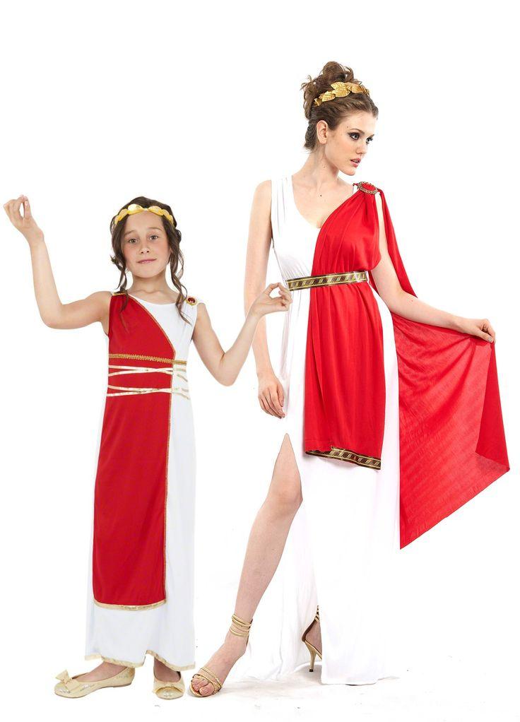 Déguisement de couple romaines mère et fille : Déguisement déesse romaine femmeCe déguisement de déesse romaine pour femme se compose d'une longue robe blanche fendue sur le côtéavec une...