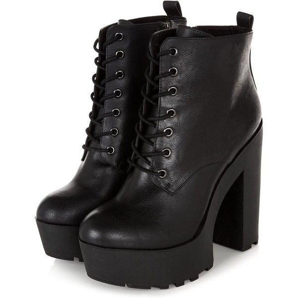 Black Chunky Platform Lace Up Block Heel Boots (£18) ❤ liked on Polyvore featuring shoes, boots, ankle booties, heels, zapatos, lace up platform booties, black boots, black laced booties, black platform boots and heeled booties