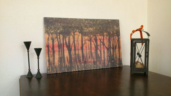 Tree silhouettes on a warm red sunset. Hand by ArtTetisCollections, $180.00