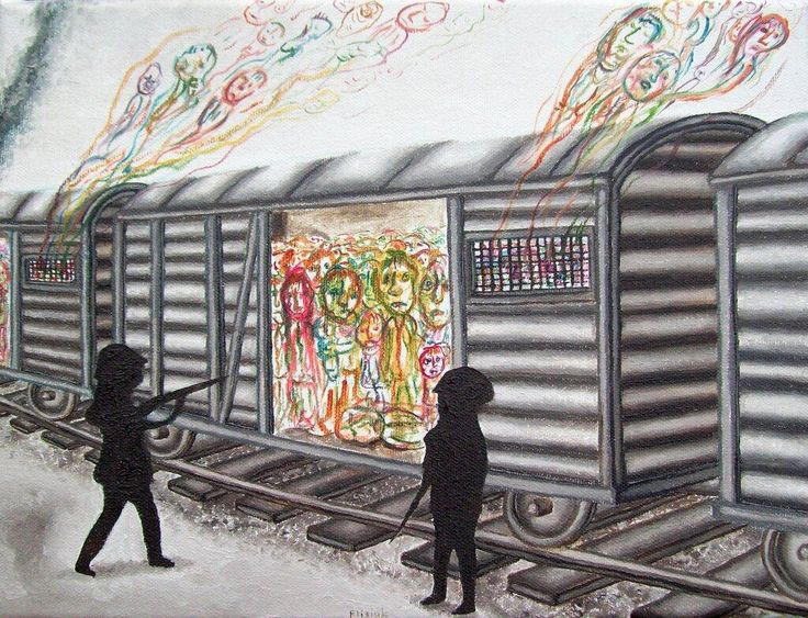 A drawing by Marcel Flisiuk - Arriving in Auschwitz (http://marcelflisiuk.com/)