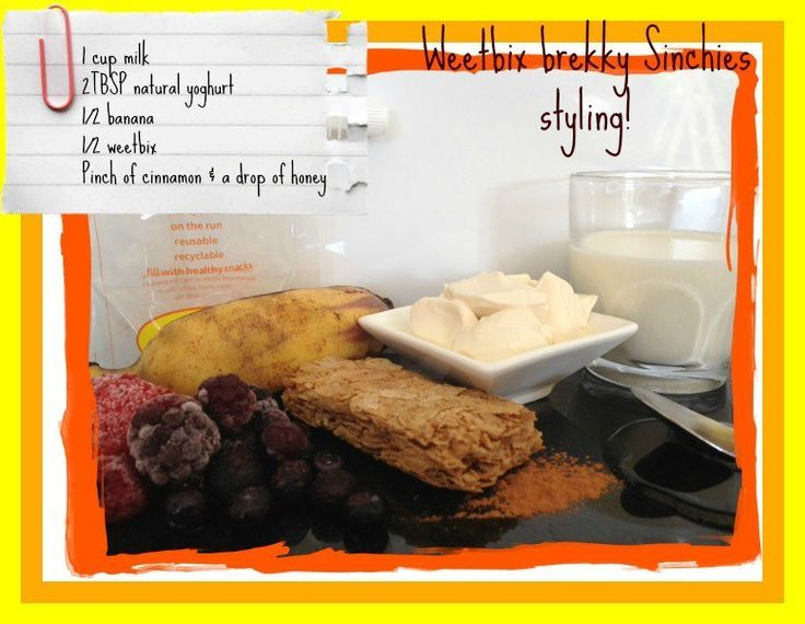 Wheetbix brekky Sinchies styling! Eat on the run with a Sinchies reusable food pouch www.sinchies.com