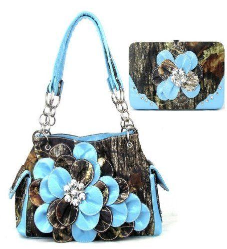 Western Blue Camouflage Flower Rhinestone Handbag W Matching