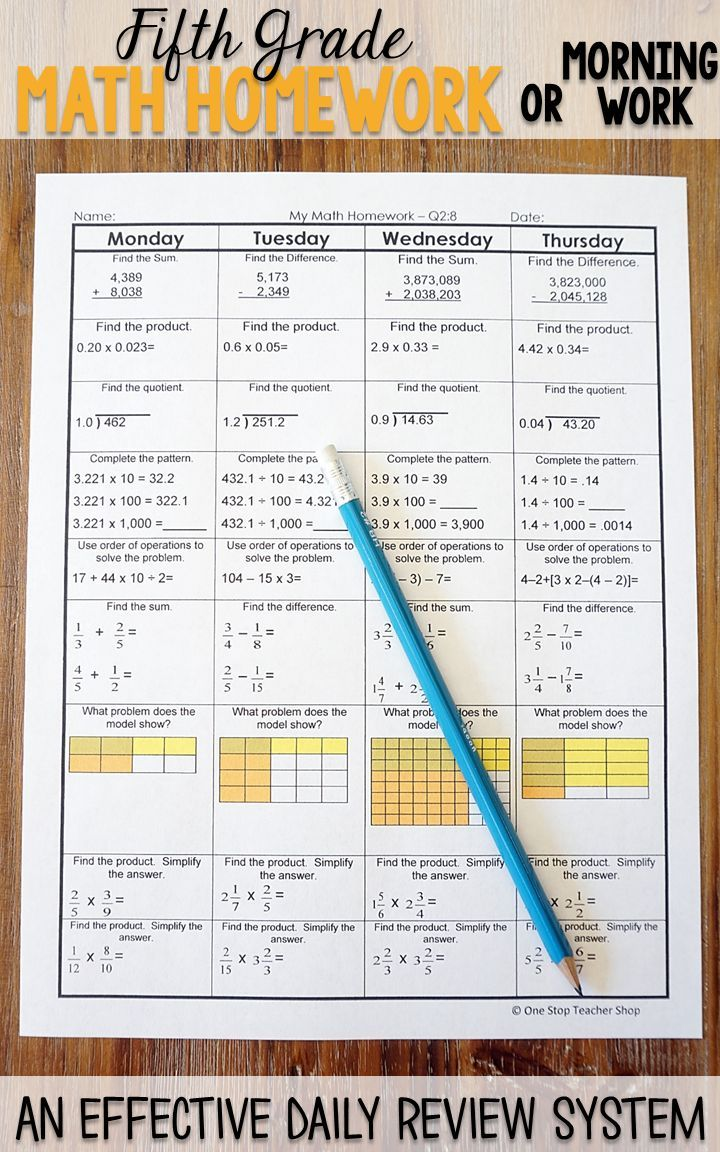 Fifth grade math homework or morning work that provides a daily review for 5th grade math standards. This fifth grade spiral math review resource is fully EDITABLE and comes with answer keys and a pacing guide.