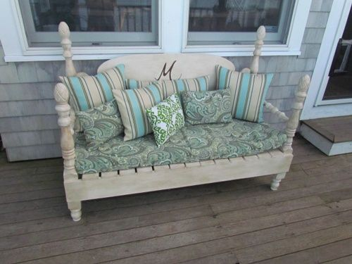 Benches Made From Bed Headboards | bench made from headboard and footboard | bed-bench2 | Outdoors