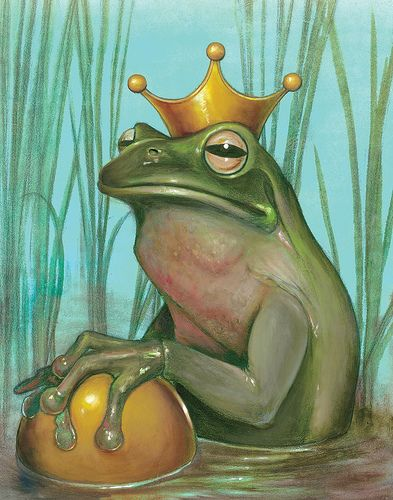 """Frog Prince"" by Kevin Eslinger. When the princess awoke on the following morning she was astonished to see, instead of the frog, a handsome prince, gazing on her with the most beautiful eyes she had ever seen, and standing at the head of her bed."