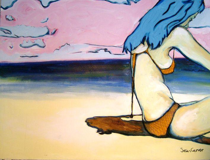 macrame side beach girl canvas