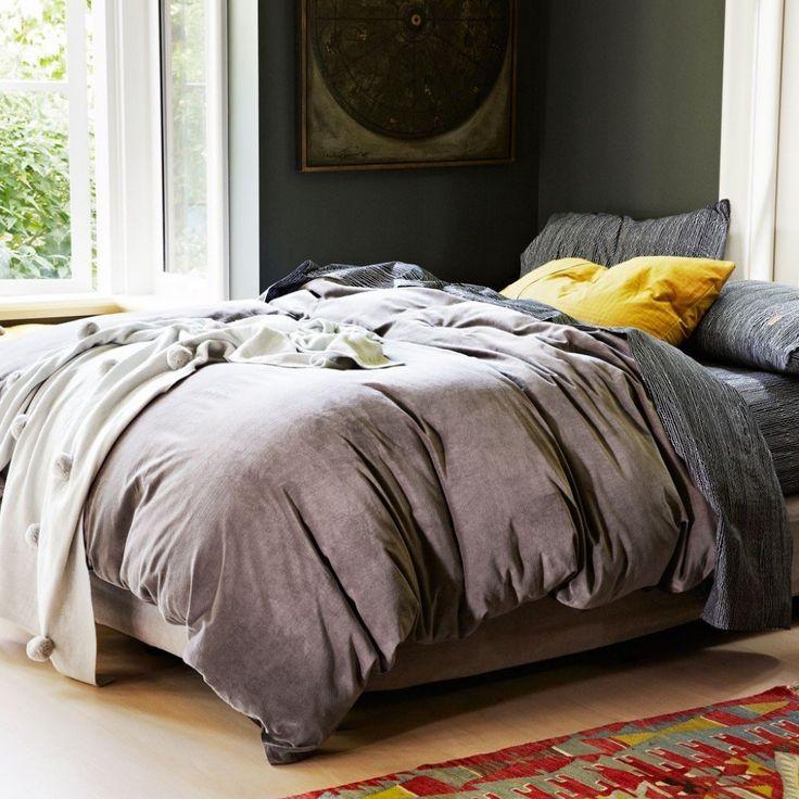 Kip & Co Dark Grey Velvet QUEEN Quilt   #inside #velvet #luxury #linen #kipandco #bedroom #styling