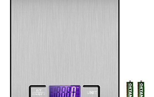 Etekcity Balance de Cuisine Electronique 5 kg en Acier Inox, Écran LCD Rétroéclairé, Fonction Tare, Piles Fournies, Argent: Une plate-forme…