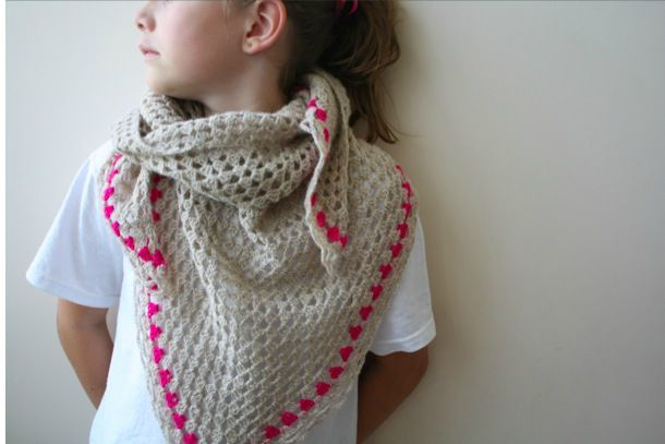 triangle granny with neon pink stripe