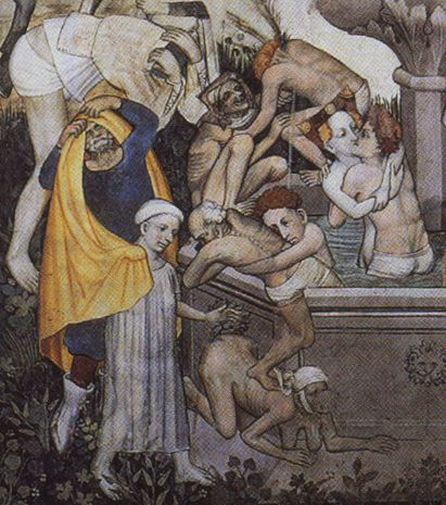 men (and women) bathing in the Fountain of Youth, from a fresco in the great hall of the Castello di Manta, c. 1411