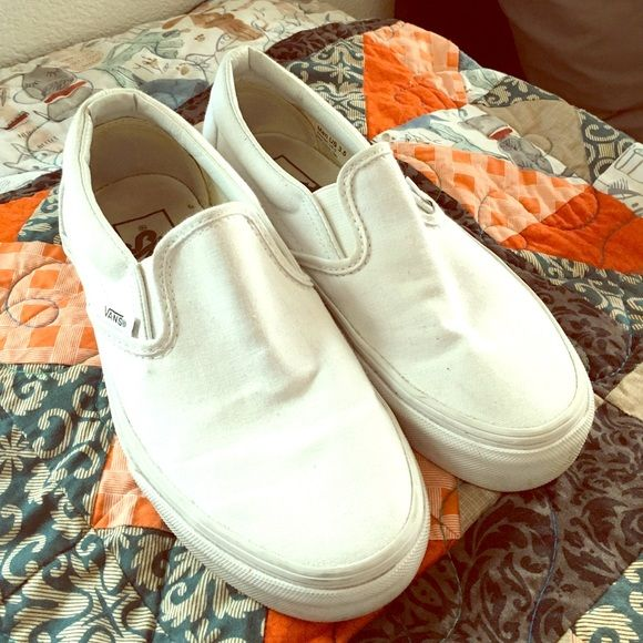 White slip on Vans Gently worn, but still extremely well kept. I can clean up a bit more before selling as well! Vans Shoes Sneakers