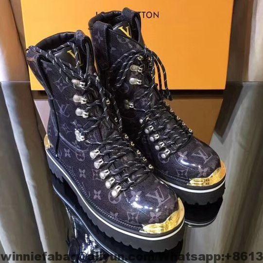b4c75a045d7 Louis Vuitton Black Monogram Glaze Canvas LV Outland Ankle Boot ...