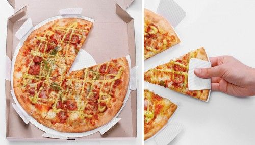 Yu Kyung Ha, Won Min Jung and Kwon Young Hee won a Red Dot design award for this simple and clever pizza box insert. It breaks into single-slice pizza plates with overhanging sides to make it easier to grip the crust.
