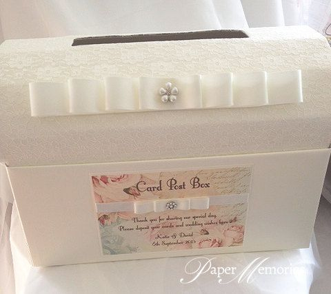 The top of this gorgeous post box is covered with lace to match the Guest Book…