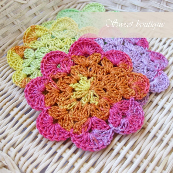 Set of 8 Vintage Crochet flower appliques by MSweetboutique, $16.00