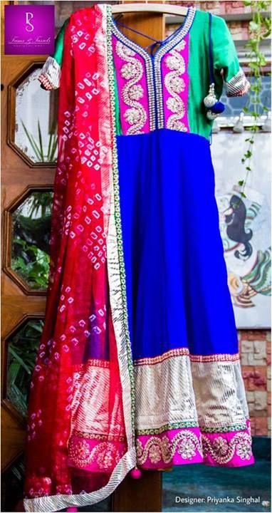 Royal blue anarkali, contrast red bandhni chunni