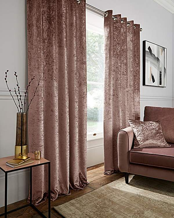 Crushed Velvet Eyelet Curtains Gold Curtains Living Room