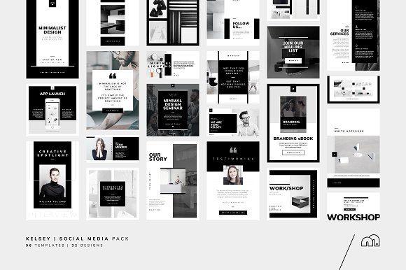 Social Media Pack - Kelsey by bilmaw creative on @creativemarket #socialmedia #socialmediamarketing #templates