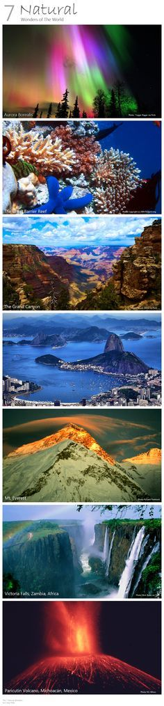 The 7 Natural Wonders of the World.  I've only seen the Grand Canyon but I intend to see them all before I die!  The Aurora Borealis is currently at the top of my bucket list.
