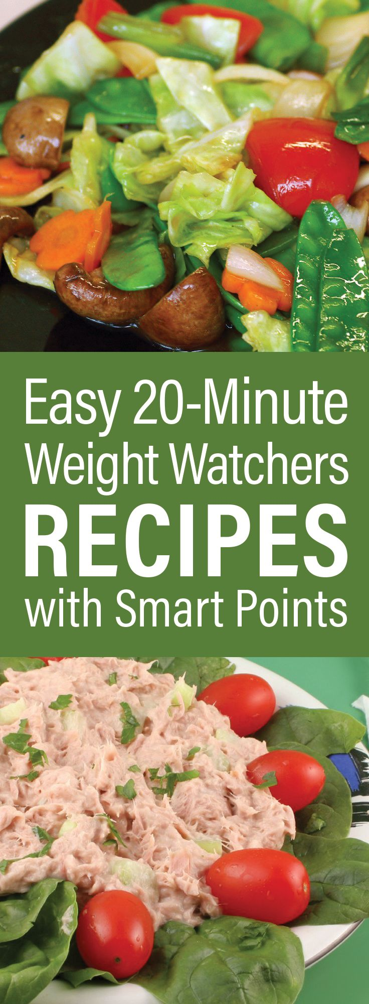 Easy 20-Minute Weight Watchers Dinner Recipes with SmartPoints including Egg Drop Soup, BLT Wraps, Ham Steak, Stir Fry Chinese Vegetables, Pita Pizza, Shrimp, Scallops, Pork Chops, Chicken, and more!