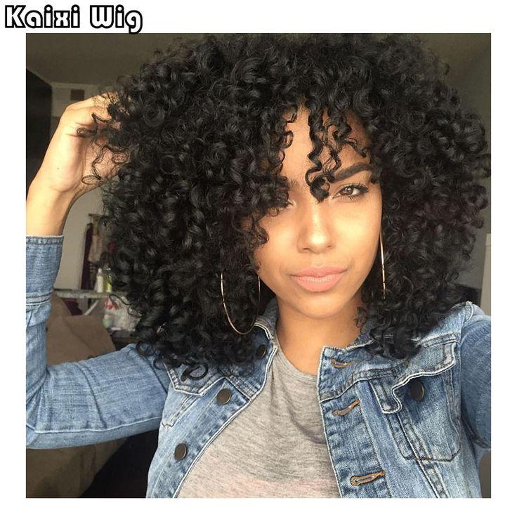 """18 """"Afro Crépus Bouclés Perruques Courtes Synthétiques Perruques Pour Les Femmes Noires Afro-Américain À Court Perruques Pas Cher Perruques Pour Femmes Perruque Perucas"""