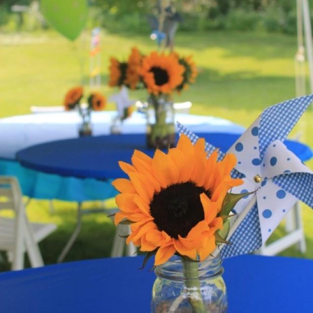Grad party centerpieces diy pinwheels sunflowers in