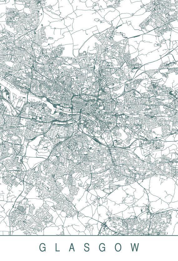GLASGOW MAP High Quality Giclee Print by EncoreDesignStudios