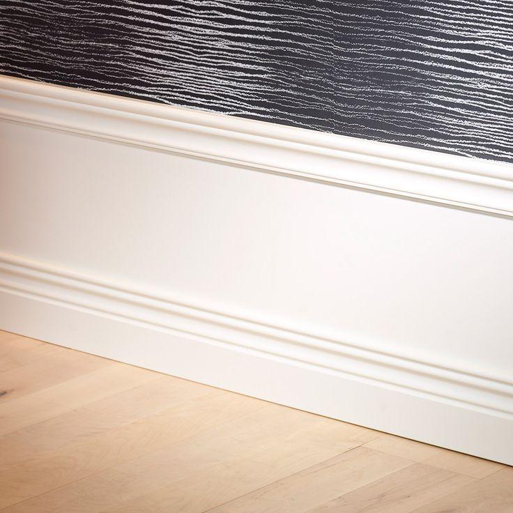 Panel Royal Antique  Paket med panelskiva, bröstlist och golvlist i vitlackad (NCS S0502Y, glans 35) MDF. Monterad höjd 400 mm.