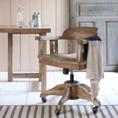 Loaf's Blofeld office chair is carved from solid oak with a moulded seat scoop for comfy bums. The handsomest swivel chair on cast iron castors you'll find!