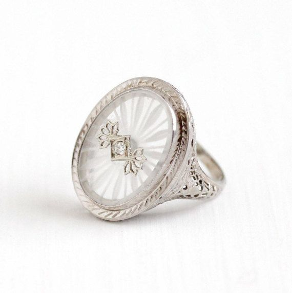 Sale  Antique 14k White Gold Rock Crystal Diamond Ring