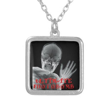 Funny Xray Photobomb Silver Plated Necklace - jewelry jewellery unique special diy gift present