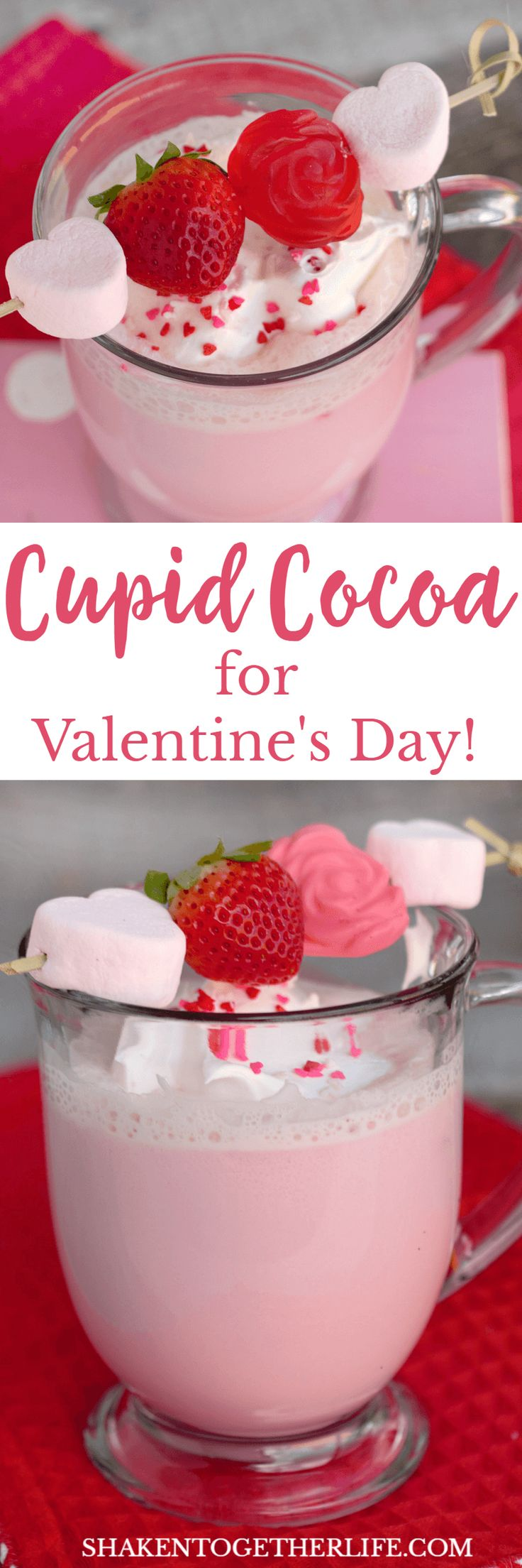 This pretty in pink Cupid Cocoa is perfect for Valentine's Day! Warm mugs of strawberry milk are topped with whipped cream, sprinkles and an adorable mini treat kabob!