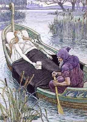 The Death Journey of the Lily Maid of Astolat by Walter Crane Illustration for King Arthur's Knights, 1911