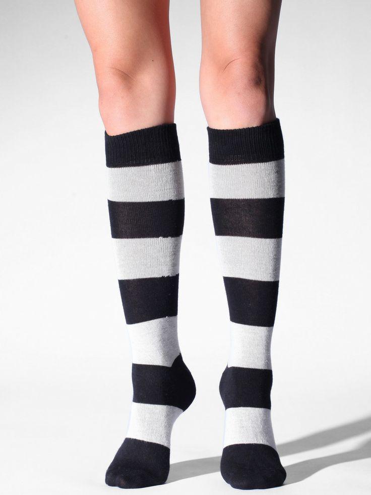 Flat Knit Striped Knee-High Sock. #AmericanApparel