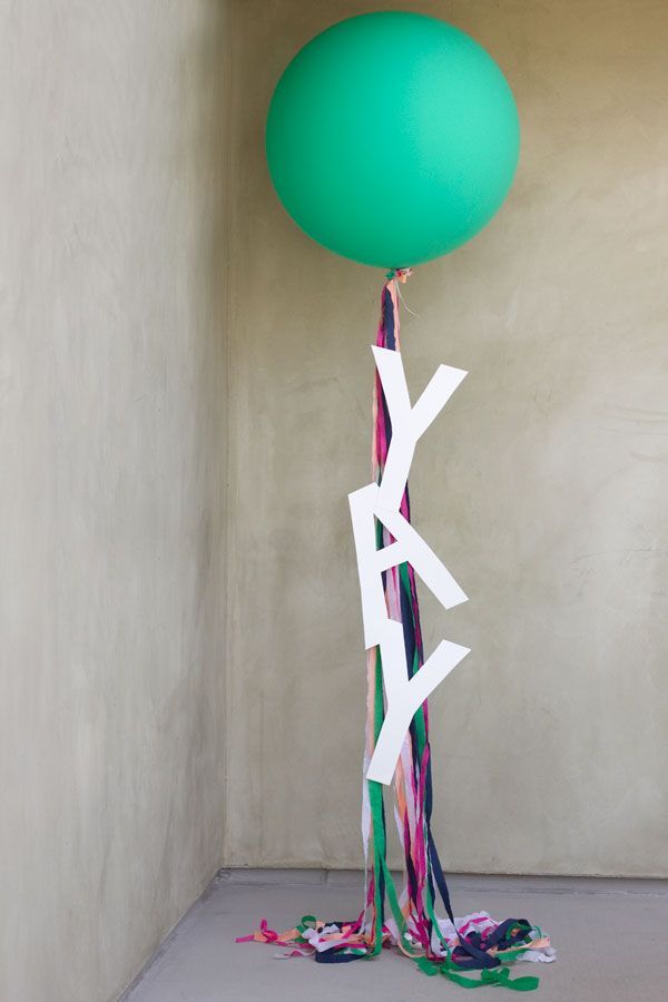 "DIY ""Yay!"" Balloons ....perhaps 'pearlescent' & cream balloons with dusky pink & cream streamers with '30' on them for wedding anniversary ??"